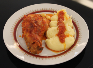 Friptura de iepure cu sos de rosii si parmezan