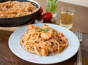 Spaghete cu homar si busuioc